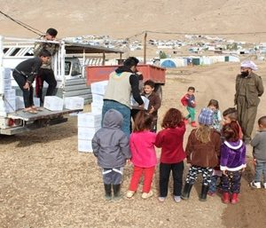 Distribution winter clothes for children